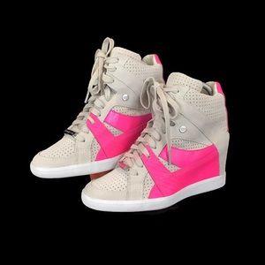 Coach Alexis Hot Pink Hidden Wedge Sneakers SZ 7